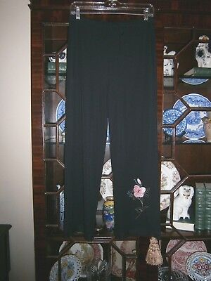 - CAROLE LITTLE Black Travelers Knit Slinky Pants~Embroidered flower~Draw string~M