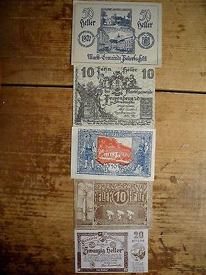 5 different Austria notgeld emergency paper money 1918-21 most uncirculated