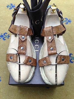 Gucci Men's Sandals Thongs Brown Leather Jute Flip Flop UK 8.5 US 9.5 42.5 Shoes