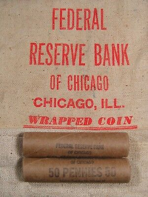 (ONE) Uncirculated FRB Chicago Lincoln Wheat Cent Penny Roll 1909-1958 PDS (08)
