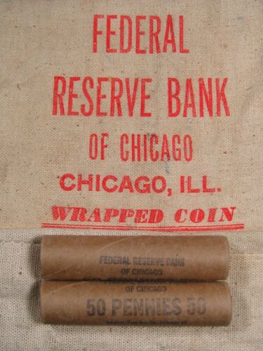 (ONE) Uncirculated FRB Chicago Lincoln Wheat Cent 50 Penny Roll 1909-1958 PDS
