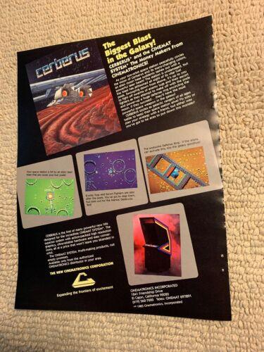 11- 8.5'' Cerberus Cinemat System arcade video game AD FLYER