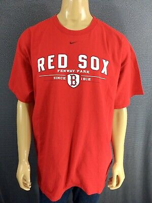 BOSTON RED SOX T Shirt Mens 2XL Red NIKE SS Athletic 100% Cotton Fenway Park Sox 100% Cotton