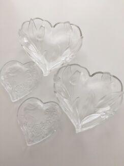 4 x heart shaped glass decorative shallow bowls