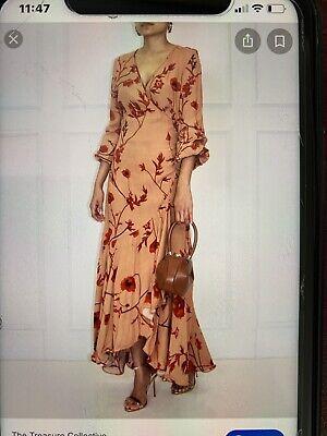 Johanna Ortiz Beige With Poppies Wrap Around Dress Size Large
