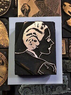 Antique Vtg Wood Metal Art Deco Woman Letterpress Print Type Cut Ornament Block
