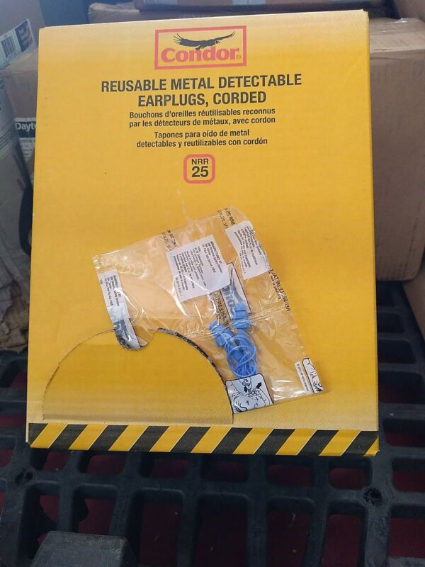 200 NEW pair CONDOR reusable corded ear plugs  25 decibels