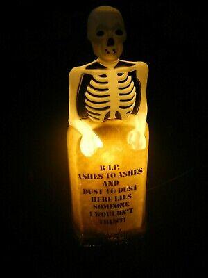 Vintage EMPIRE R.I.P. Tombstone Skeleton Lighted Halloween Blow Mold Decor