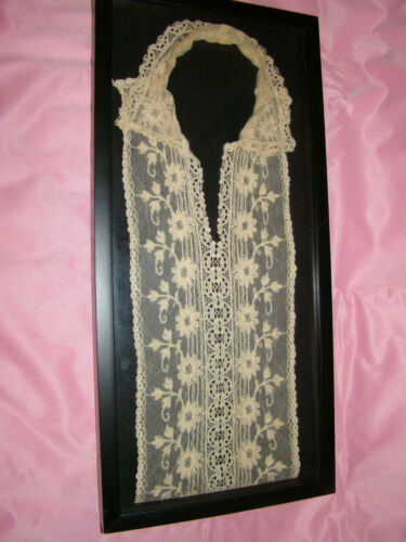 """ANTIQUE VICTORIAN EDWARDIAN LACE COLLAR Framed 21"""" by 10"""""""
