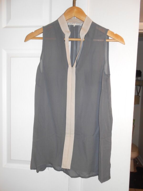 Standards and Practices pebble gray slit silk sheer sleeveless top new! XS cute!