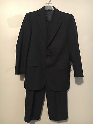 NORMAN HILTON COBEY CUSTOM NAVY BUTTON MEN SUIT JACKET 38R PANT 34 MADE IN USA
