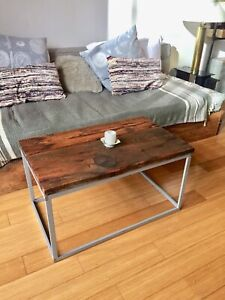 VINTAGE RECLAIMED WOOD COFFEE END SIDE TABLE BARN BOARD & STEEL