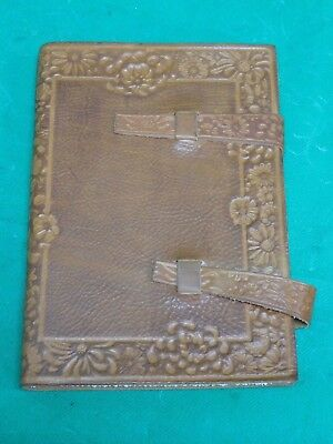 Floral Scalloped Design Italian Leather Lined Journal with Tabs (6'' x 8.5'') Italian Line Design