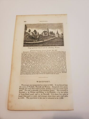 Congregational Church And The Academy Weston Connecticut C. 1836 Engraving  - $9.95