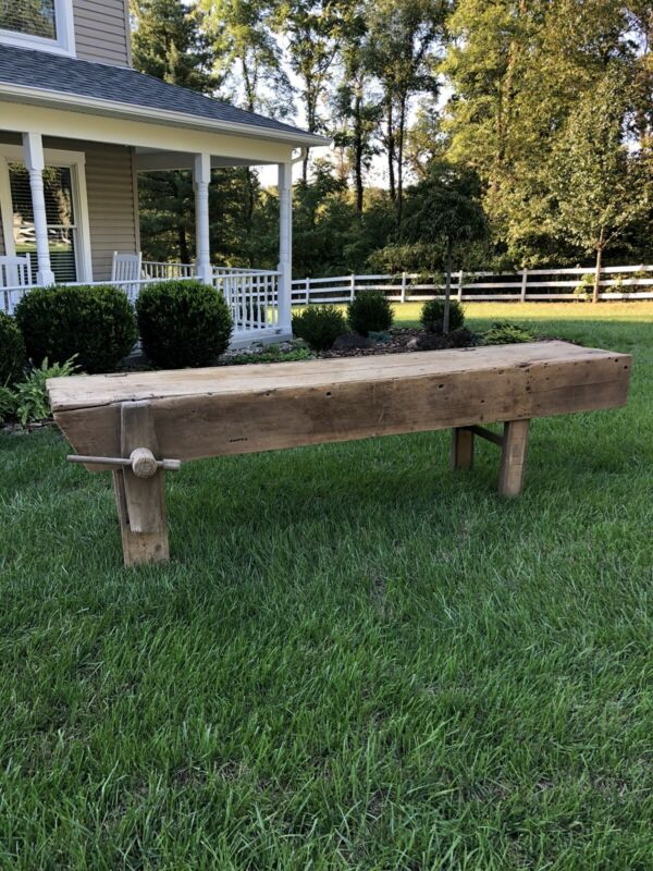 Antique Original Farm Country Primitive Work Table (10')