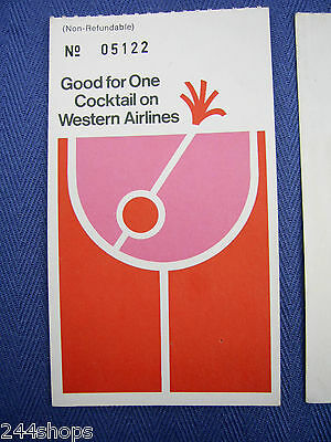 Western Airlines Vintage Good For One Cocktail Ticket