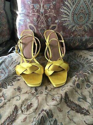 Zara Women Yellow Platform Heels Size 40