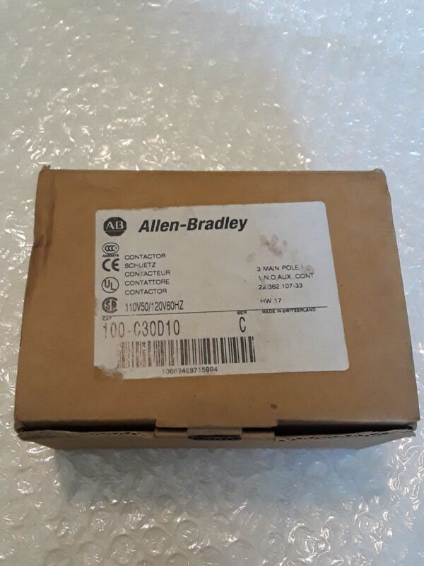 100-C30D10 ALLEN BRADLEY CONTACTOR 110v coil, 3 pole, 1 N.O. Auxiliary, 600v AC