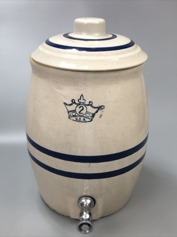 VTG Robinson Ransbottom? #2-Gallon Stoneware Water Cooler Blue Crown Stripes AA