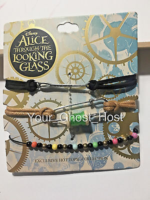 Alice in Wonderland Disney Bracelets Set of 3 Through the Looking Glass Limited
