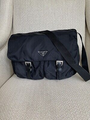 Authentic Prada Shoulder Bag Flat Bag Black Nylon