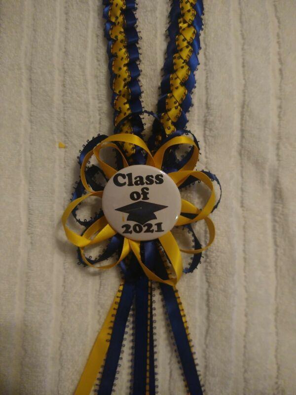 Graduation Ribbon lei W/ rosette & Button 2021 navy blue and light gold