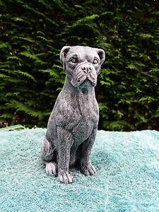 Stone / concrete garden statue ornament of a boxer dog