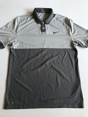 Tiger Woods Collection Mens Medium Gray S/S Dri Fit Golf Polo Shirt
