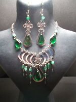 Peruvian Alpaca Silver Necklace And Earring Setgreenmuranoglasspn36uk -  - ebay.co.uk