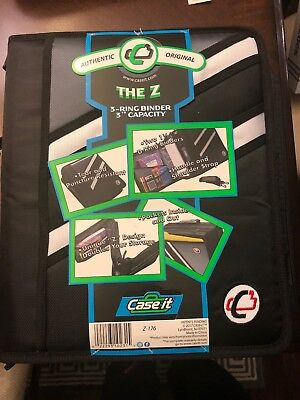 Case-it Z-binder Two-in-one 1.5-inch D-ring Zipper Binders Z-176 Black