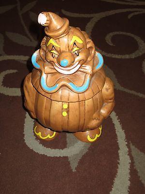 Vintage DeForest Clown Brown Ceramic Cookie Jar *SUPER RARE*