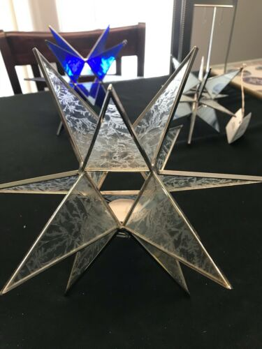 "LARGE 11"" STAINED GLASS MORAVIAN STAR TEA LIGHT HOLDER WINTER FROST GLASS"
