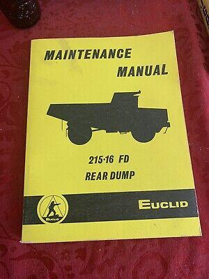 1977 Euclid Maintenance Manual 215-16 Fd Rear Dump Truck Cummins Diesel Equipmen