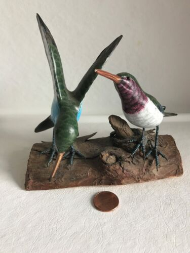 Hand Painted & Carved Figurines of Two (2) HUMMINGBIRDS~Stunning