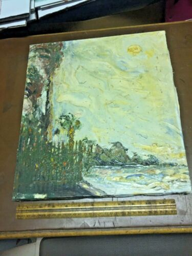 """Signed Florida Seaside Knife Oil on Canvas Art Painting by H """"Tampa Bay"""""""