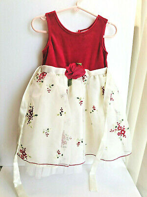 YOUNGLAND Girl 3T Special Occasion Dress Red Velvet Embroidered Floral Christmas