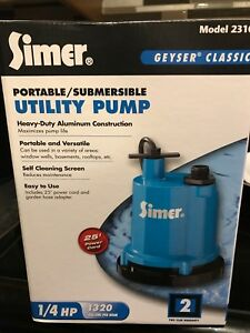 New Simer Portable Submersible Pump