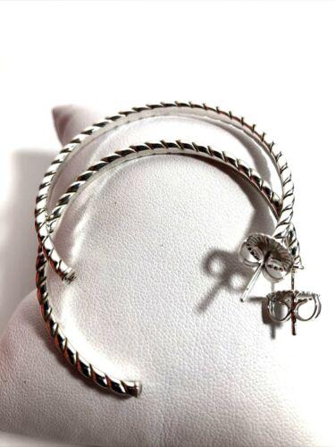 "Qvc Jai 2 "" Sterling Silver Open Hoops Earrings Nwb Free Shipping"