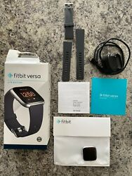Fitbit Versa Lite Edition Smart Watch - Silver Aluminum Case and Charcoal Band