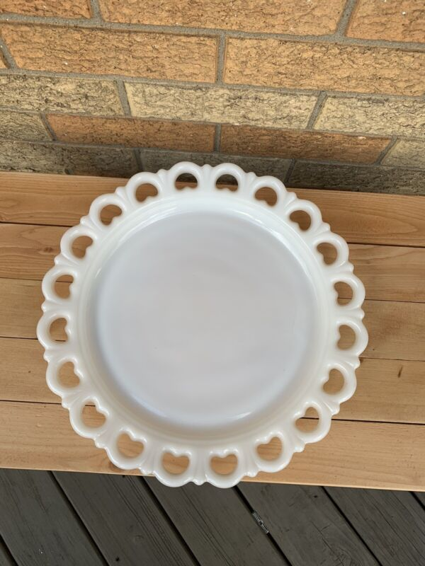 """Vintage Anchor Hocking Lace Edge Milk Glass Old Colony Open Heart 13"""" Plate"""