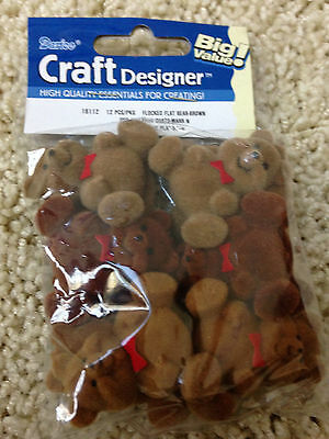 "WHOLESALE LOT of 36 NEW 1.5"" Flocked Flat Back  Brown TEDDY BEARS Free US Ship"