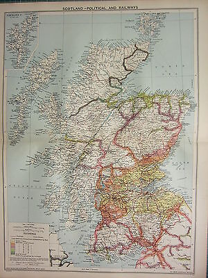 1940 MAP ~ SCOTLAND WITH RAILWAYS ~ SHETLAND ORKNEY ISLANDS SHIPPING ROUTES