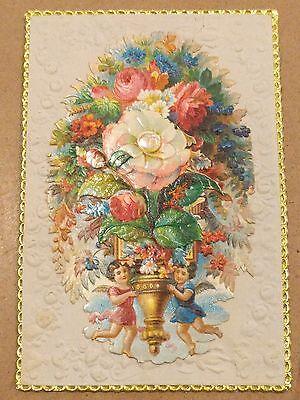 "#Original 1800's Victorian Lace Paper Card ""XMas"" 3 x 4.5"""