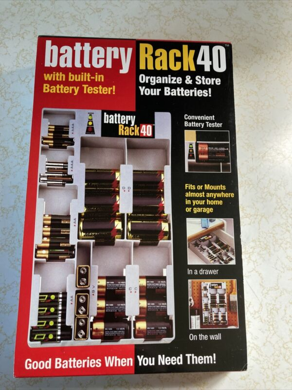 Battery Rack 40 Mounted Storage Organizer with Build-In Tester