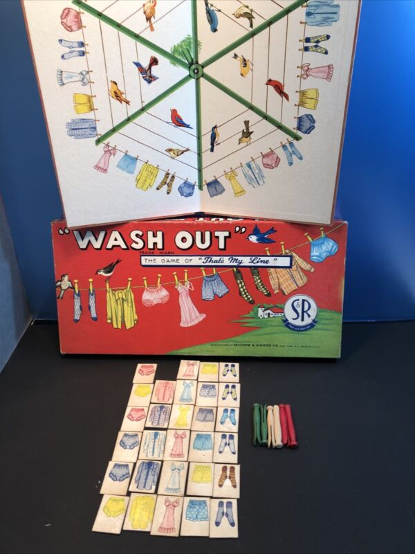 Vintage 1955 Wash Out Board Game Washday Laundry Selchow  & Righter