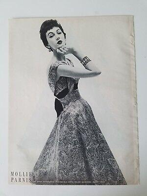 1954 women's MOLLIE PARNIS silk satin dress Dovima model ad