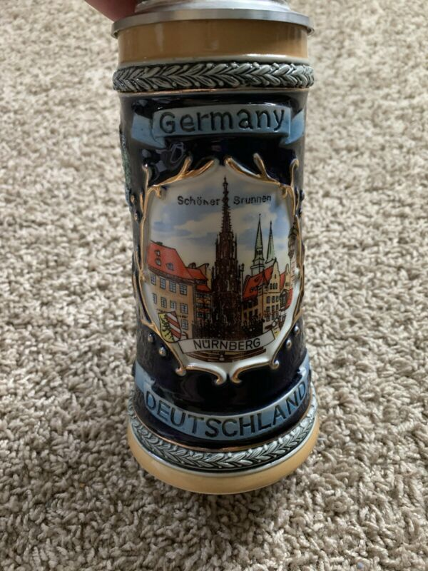 Vintage Gerz German Beer Stein Cities 95% Zinc