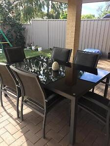 Black glass top table and 6 chairs Eden Hill Bassendean Area Preview