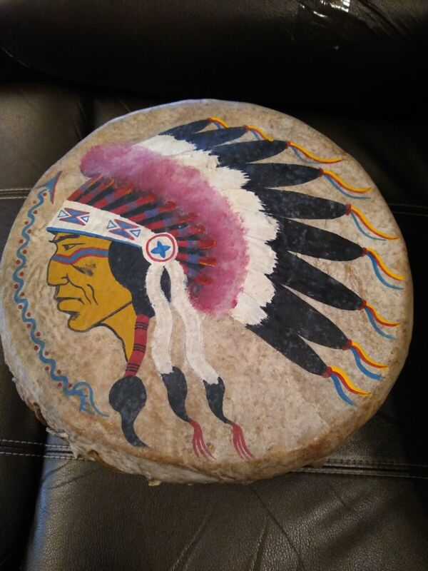 **ANTIQUE NATIVE AMERICAN PAINTED CHIEF RAWHIDE DRUM  GREAT SOUND SHAMAN OLD!!""""