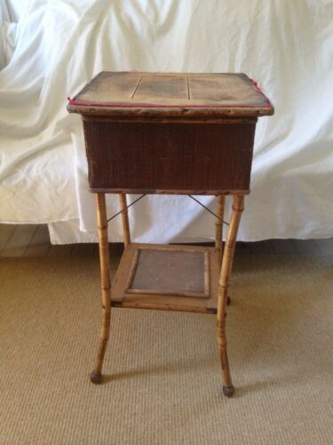 antique BAMBOO SEWING STAND work table c1890  LIFT TOP compartmentalized drawer